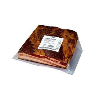 SMOKED BACON, RAW, HALF, VACUUM-WRAPPED