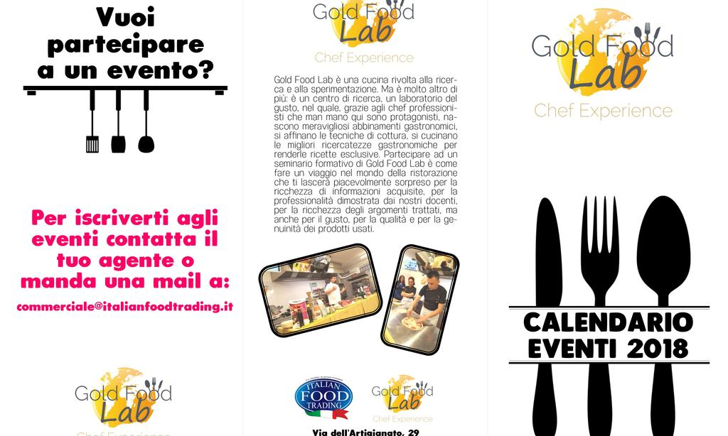Calendario Eventi Gold Food Lab 2018